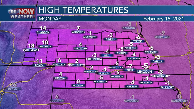 Temperatures likely won't reach above 0° on Monday.