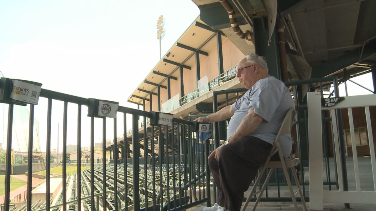 Ralph Beach sits in what is his usual season ticket spot. He's been a season ticket holder for 19 years, but will miss this year because of the cancelled season.
