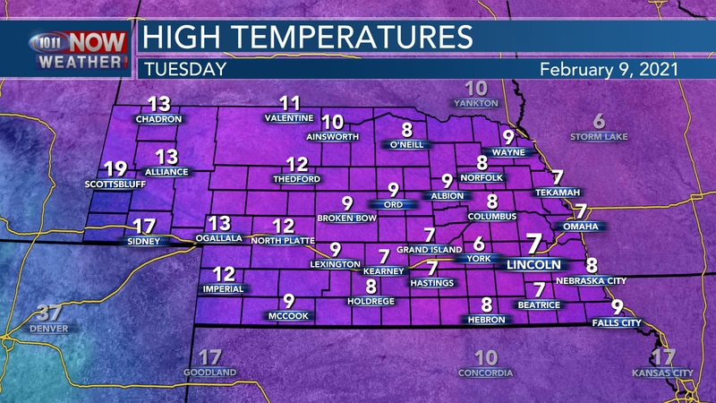 Temperatures will again only reach the single digits on Tuesday with bitterly cold conditions.