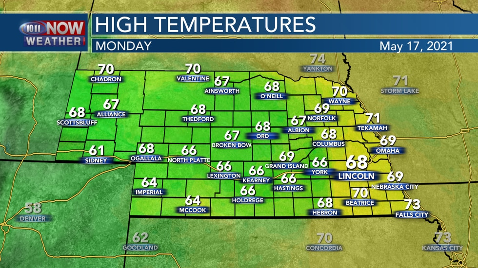 Temperatures should remain a few degrees below average with mostly cloudy skies on Monday. Look...
