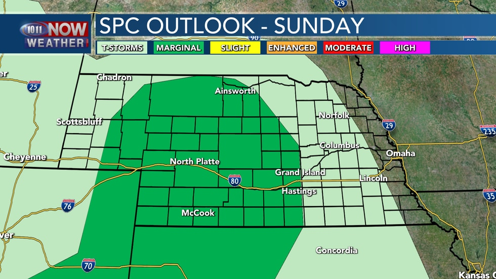 Some isolated severe storms are possible across central and western Nebraska into Sunday evening.