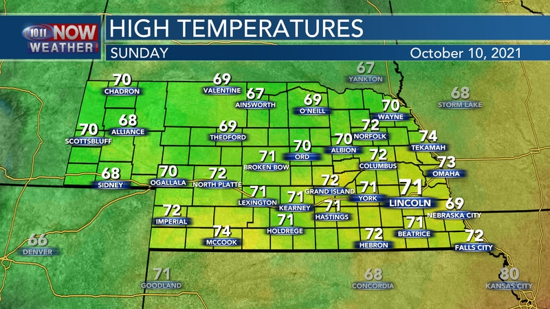 More seasonal temperatures are expected by Sunday afternoon with highs in the 60s to low 70s.