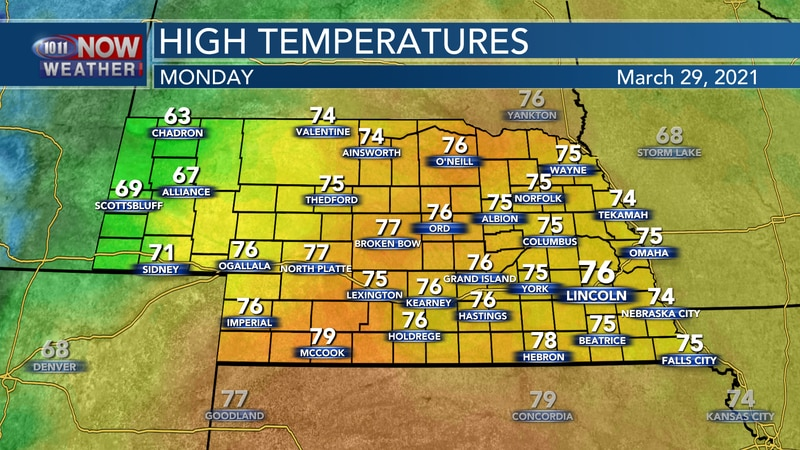 It will be a warm and windy start to the week with highs in the 70s to near 80° for most of the...