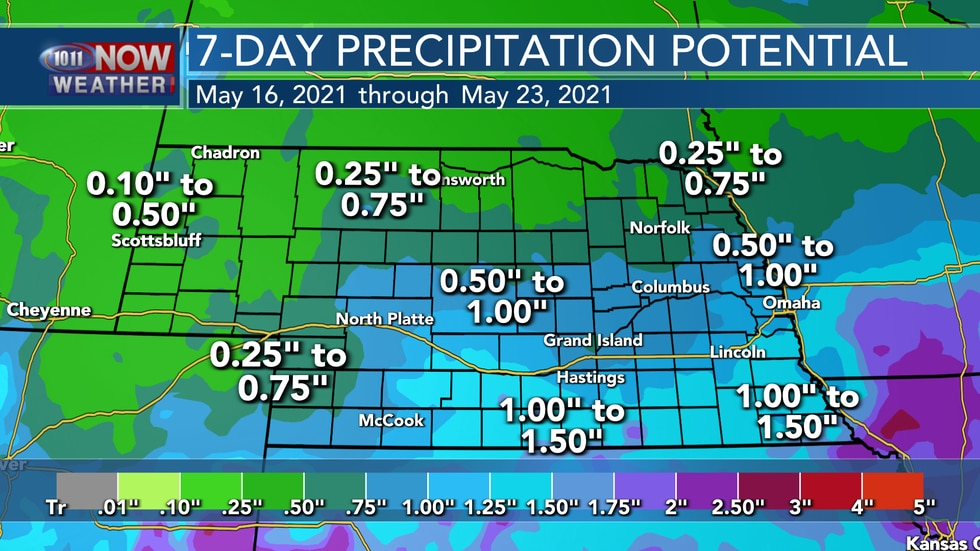 With chances for rain everyday over the next week, most of the state looks to pick up some...