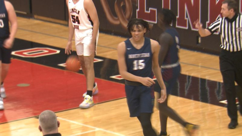 Lincoln North Star's Brennon Clemmons reacts after making a basket in the Navigators' road win...
