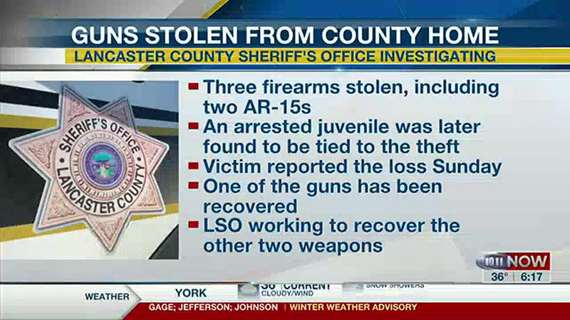 Teen cited in weapons theft investigation in Lancaster County