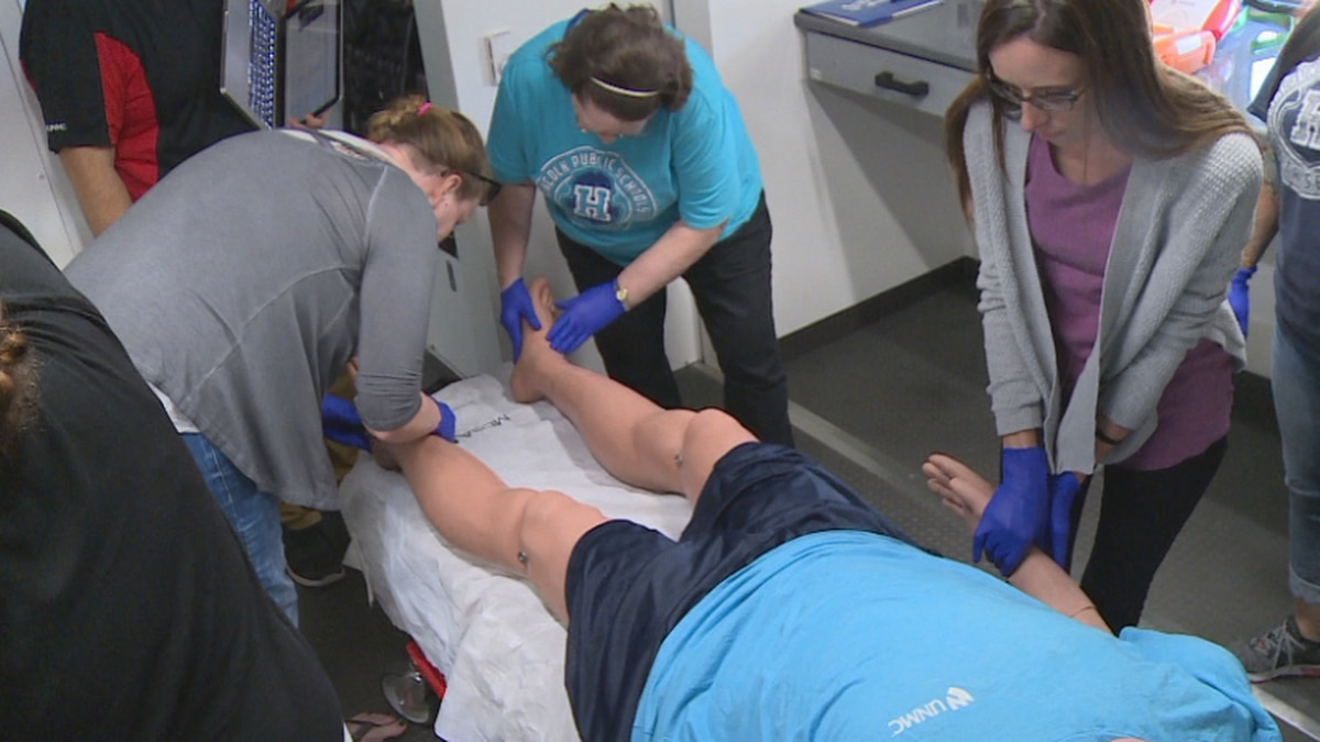 LPS nurses have through this annual training for years, but what's new this year is the simulation mobile unit which gives them true hands on experience.
