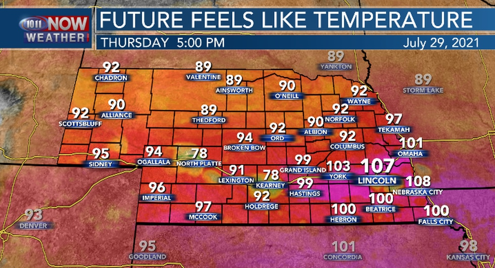 Heat index values will range from 100 to 108 in southern and southeastern Nebraska Thursday...