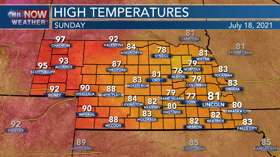 Sunday could be cooler in parts of Central and Eastern Nebraska.