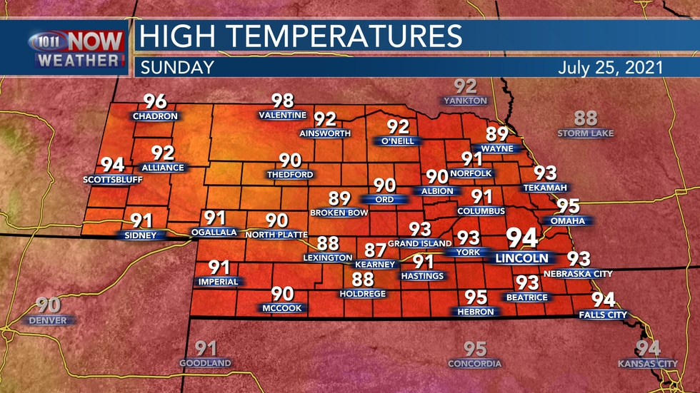 Temperatures again on Sunday will reach the lower to middle 90s.