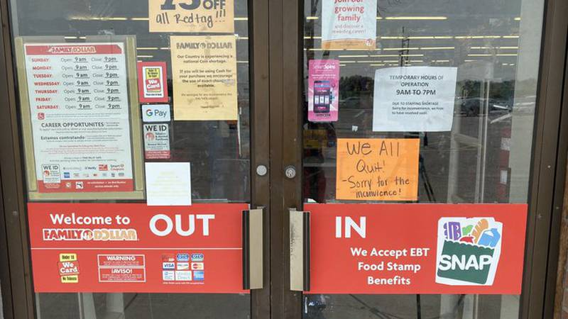 """A sign on the Family Dollar in Lincoln Sunday morning said """"We All Quit! Sorry for the..."""