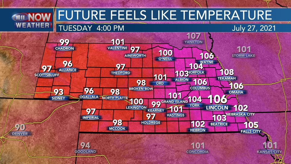 Heat index values on Tuesday could range between 100° and 110° through the afternoon.