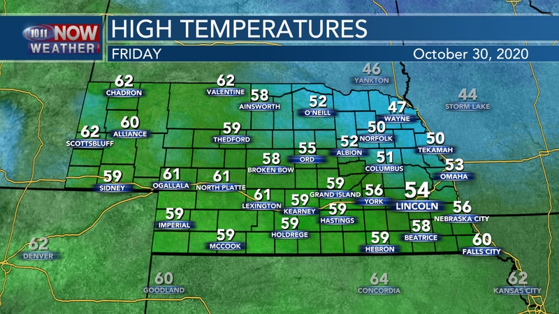 Temperatures trend a bit warmer on Friday with highs in the upper 40s to lower 60s.