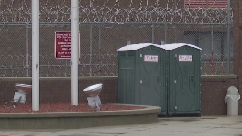 Port-a-potties were seen outside the Nebraska State Penitentiary Wednesday afternoon after...