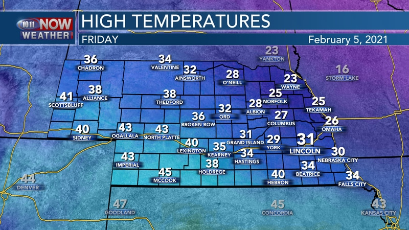 Temperatures will range from the lower 20s to the lower 40s on Friday.