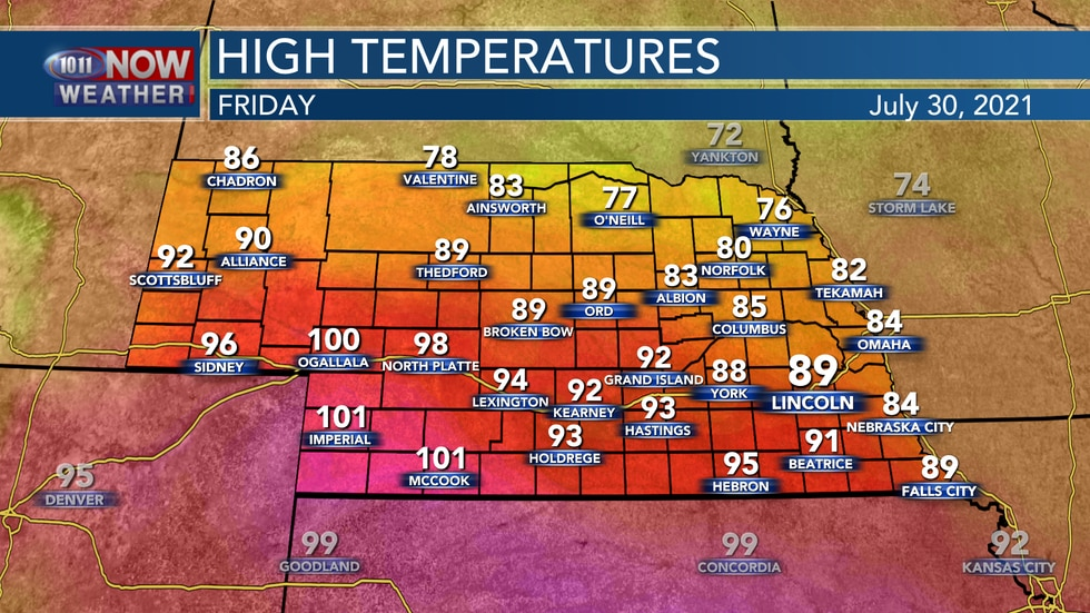 A front settling into the area on Friday will give us a wide range of temperatures by Friday...