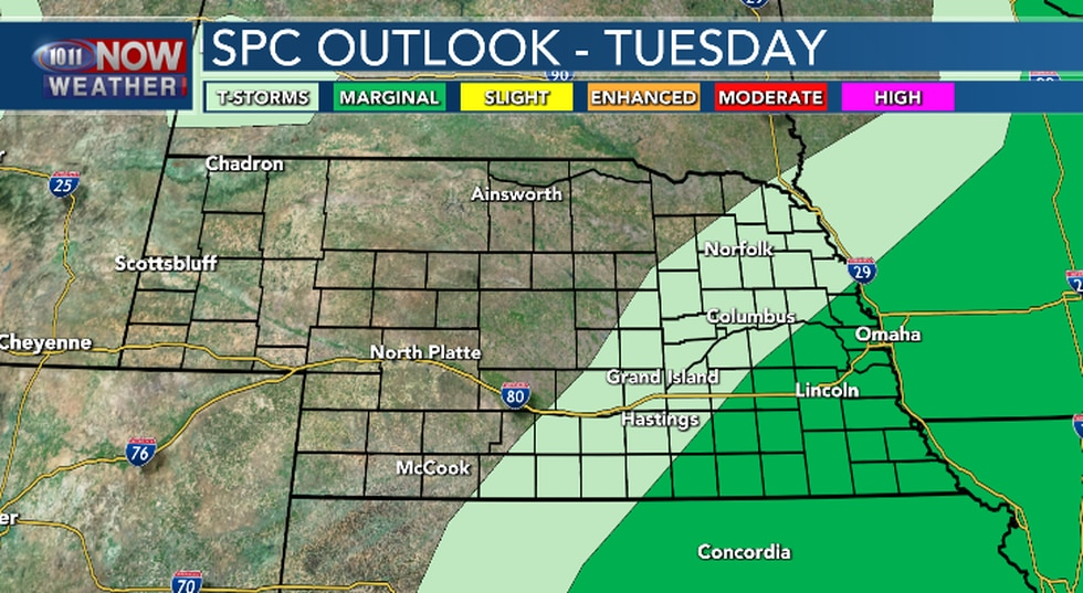 Isolated severe thunderstorms possible in eastern and southeastern Nebraska this afternoon and...