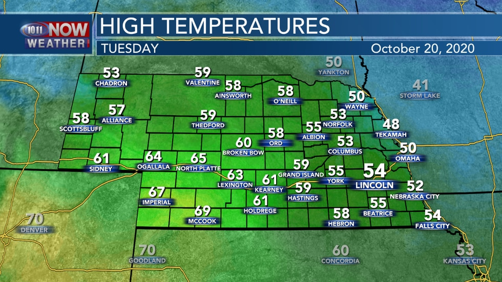 Temperatures should be a few degrees warmer on Tuesday afternoon, but still below average for...