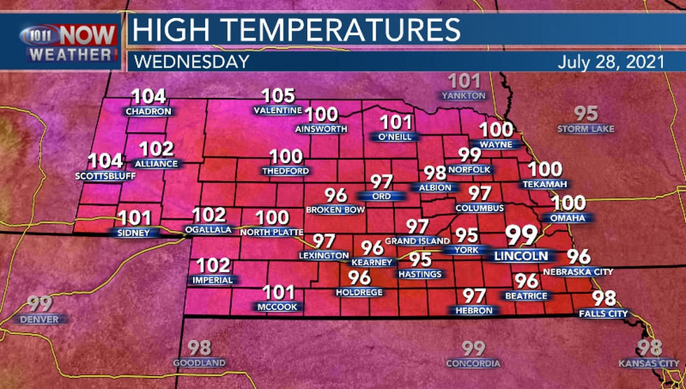 Wednesday will likely be the hottest day of the week for many locations.