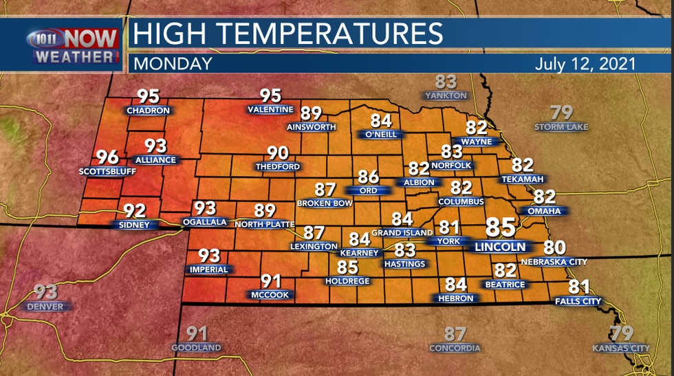 High Temperatures On Monday