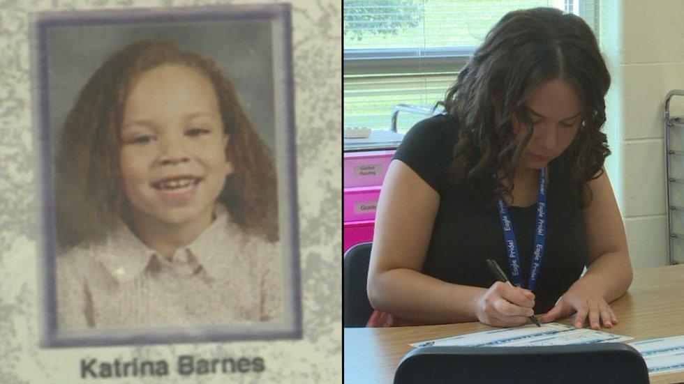 Left: Katrina Barnes as a student at Arnold Elementary Right: Katrina Barnes is now a teacher...
