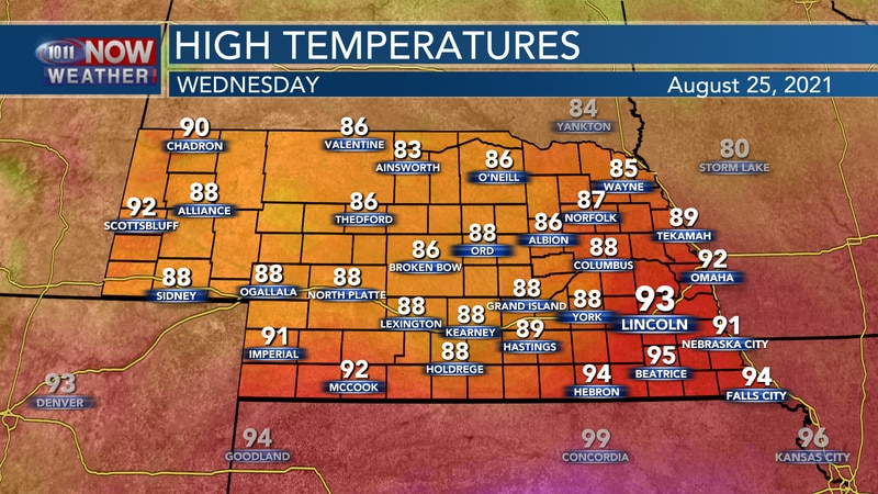 Cooler weather - for some - is expected on Wednesday behind a cold front. High temperatures for...