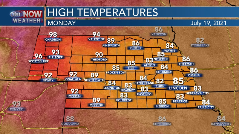 Temperatures on Monday should range from the mid 80s to mid 90s again.