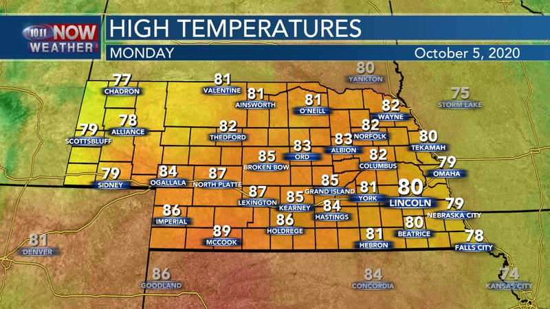 Above average temperatures in the upper 70s to upper 80s are forecast for Monday.