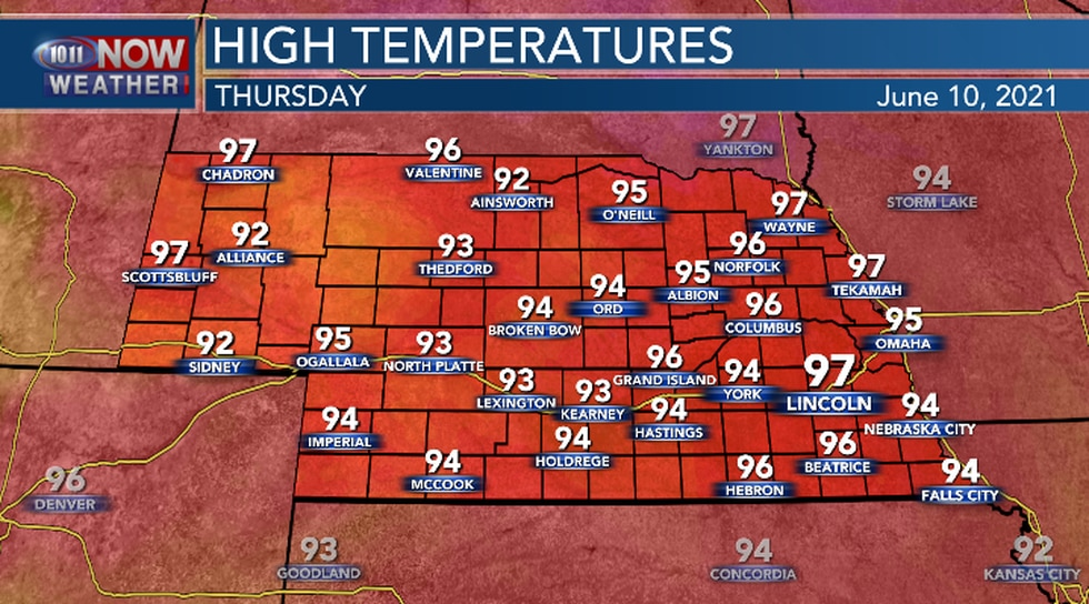 Hot and muggy conditions expected on Thursday.