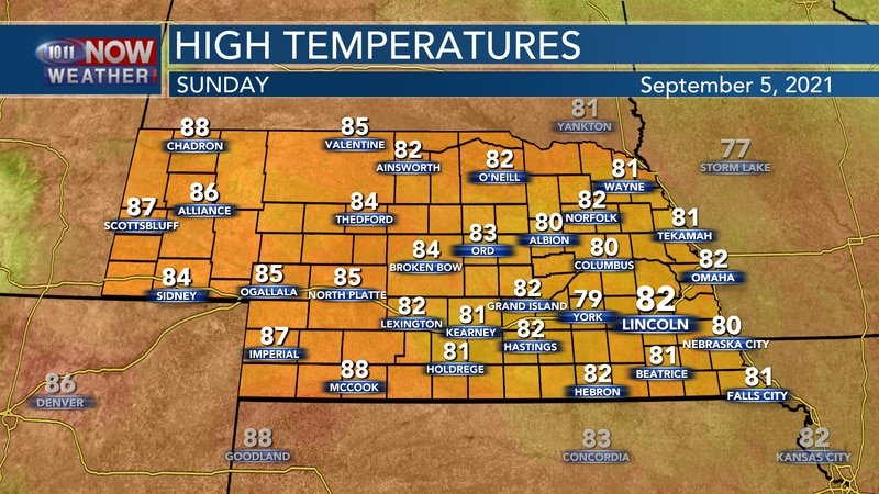 Temperatures should be a bit warmer on Sunday, with highs in the low to mid 80s for most.