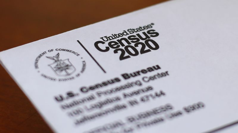 FILE - This April 5, 2020, file photo shows an envelope containing a 2020 census letter mailed...