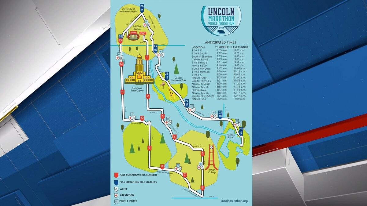 The 2021 Lincoln Marathon and half Marathon map.