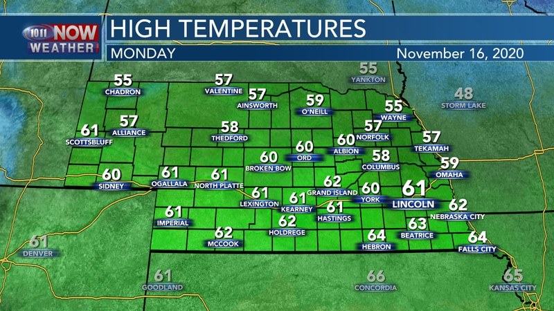 Temperatures should be a bit warmer on Monday with highs in the mid 50s to low 60s from north...