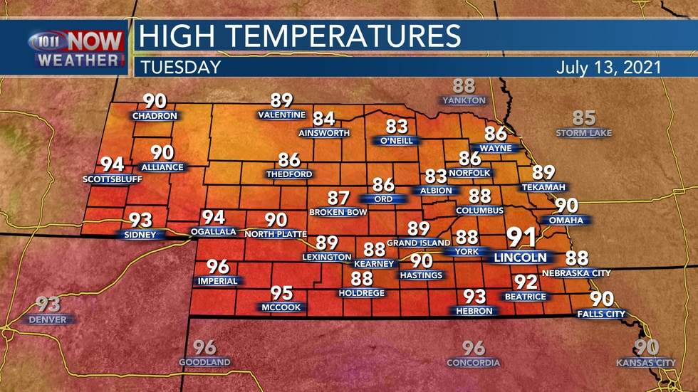 Temperatures should reach the upper 80s to low 90s for most on Tuesday with more humid...