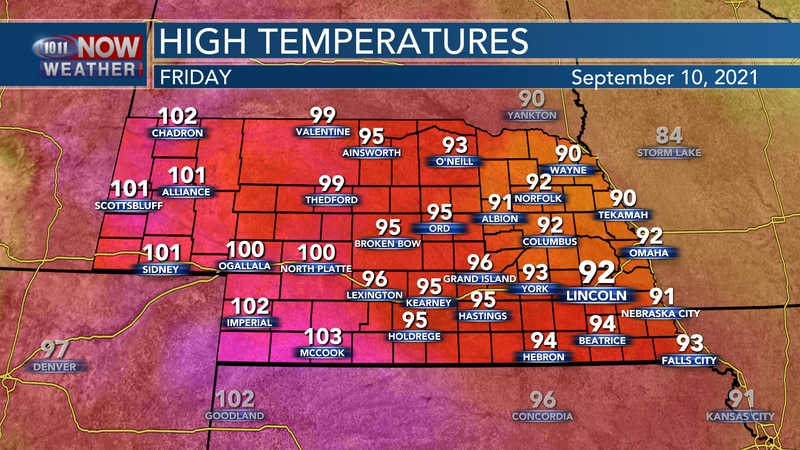 Temperatures should range from the low 90s to the low 100s on Friday.