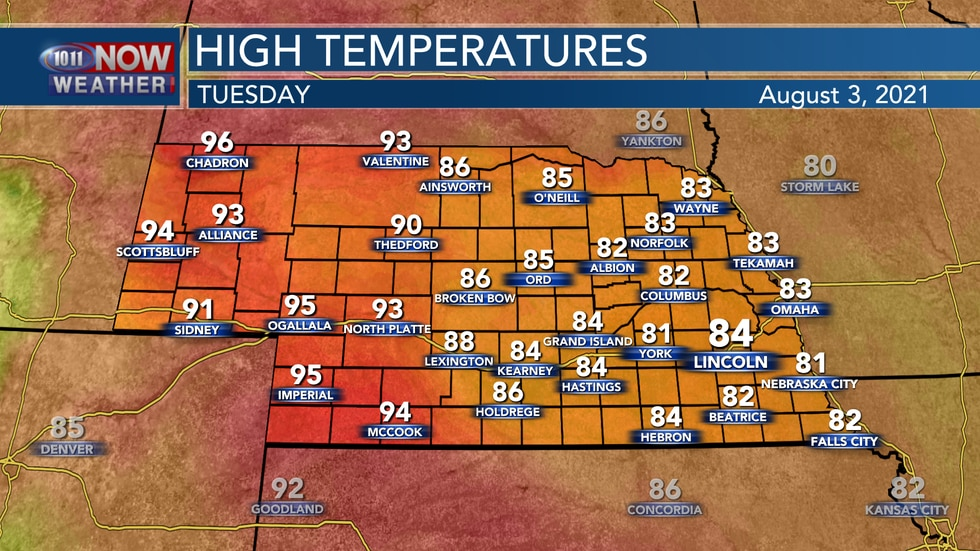 Temperatures on Tuesday afternoon should sit in the low to mid 80s for eastern Nebraska with...