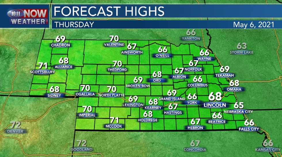 High temperatures on Thursday will be near the seasonal average.