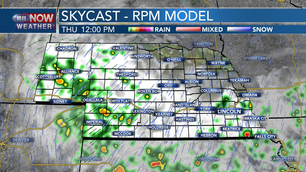 Scattered showers are expected Thursday morning and afternoon, with the best chances for rain...