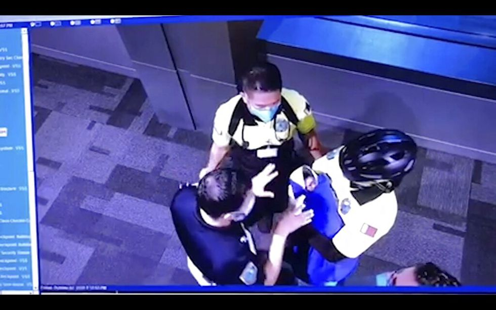 This image made from the Oct. 2, 2020, surveillance camera footage obtained by the website Doha...