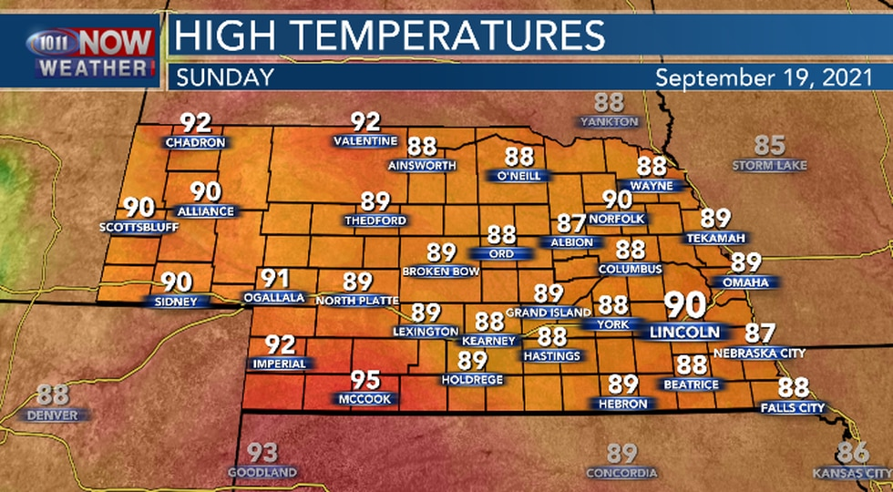 High temperatures on Sunday will be well above average.