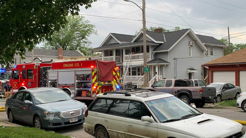LFR & LPD at the scene of a fire and robbery at an apartment near 14th & C Streets, Friday...