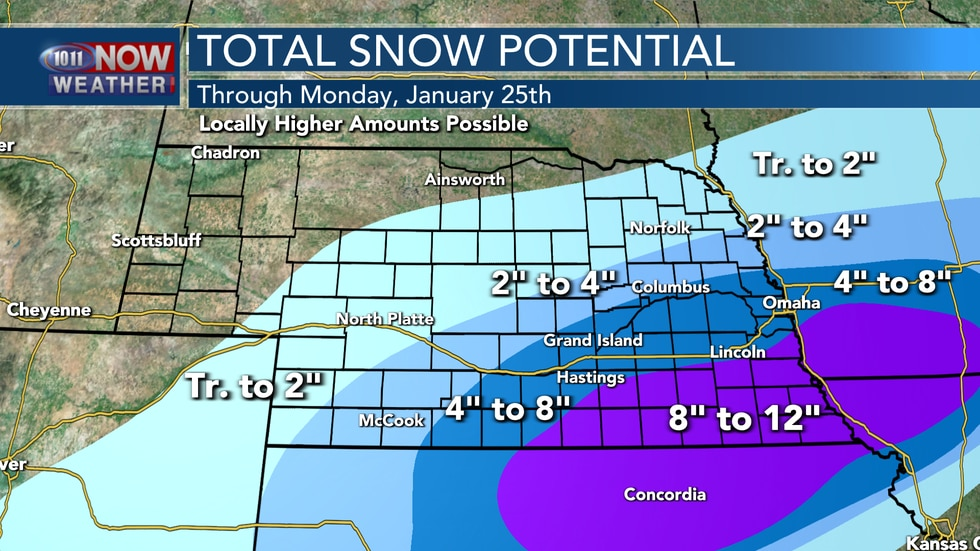 Areas of heavy snow are expected in south central and southeastern Nebraska through the day on...