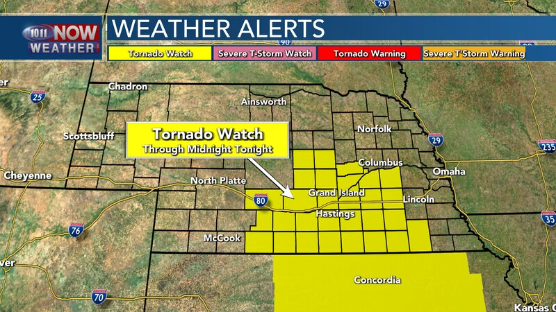 The Tornado Watch is in place for south central Nebraska through midnight tonight.