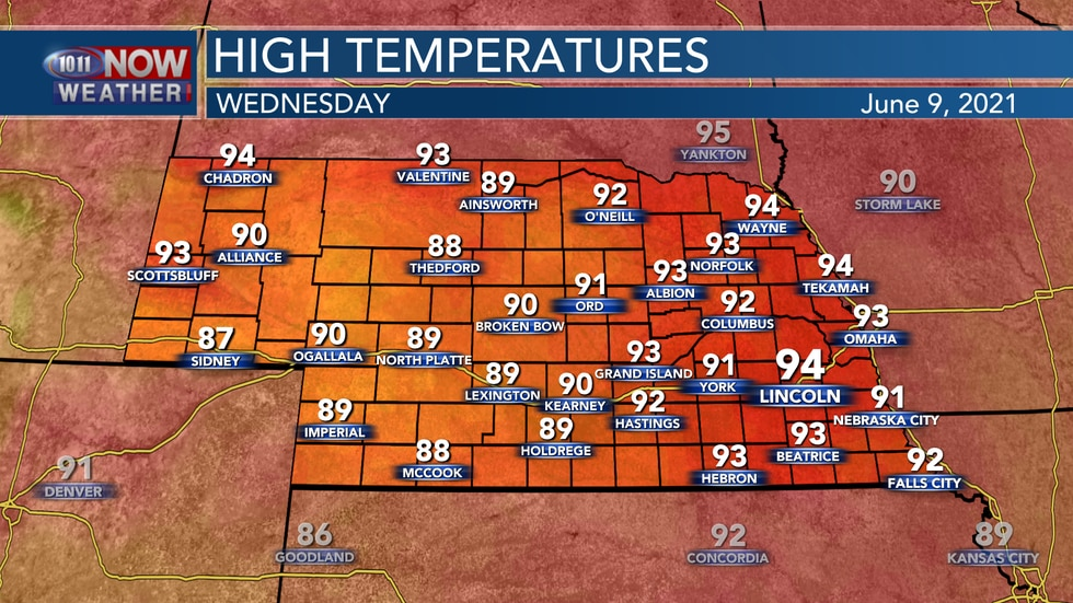 Temperatures on Wednesday should range from the upper 80s to mid 90s.