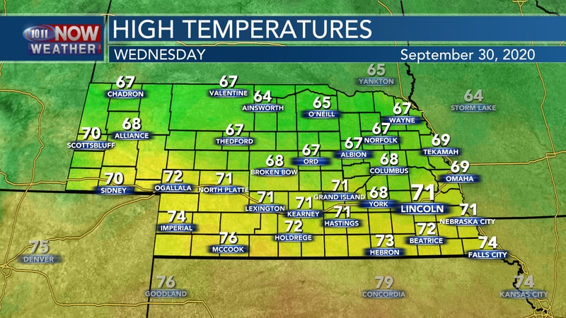 Sunny and breezy on Wednesday with highs in the 60s and 70s across the state.