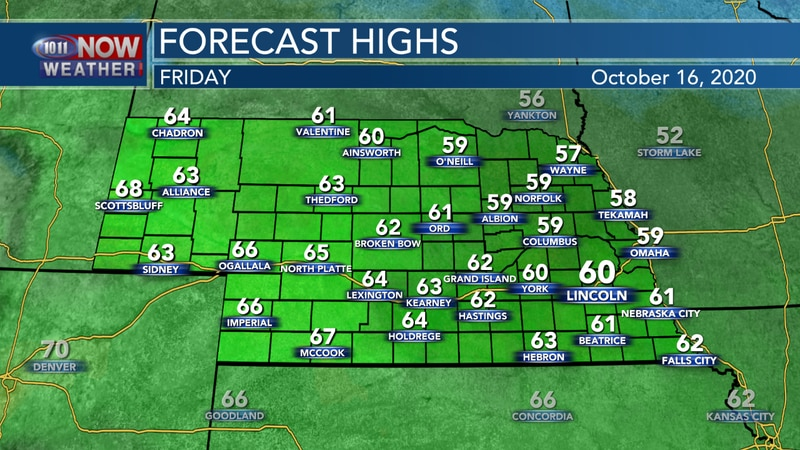 Seasonally cool weather expected on Friday with highs in the 50s and 60s.