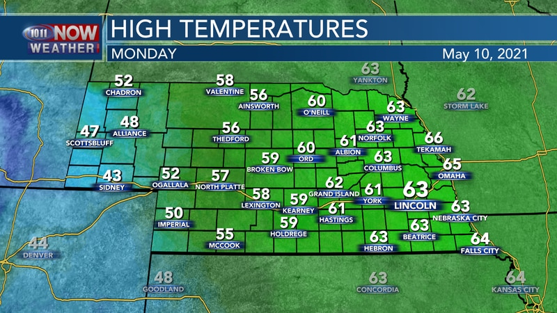 Temperatures will be a bit warmer on Monday, but still well below average for this time of year...
