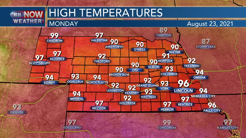 Temperatures on Monday afternoon should reach into the lower and middle 90s across the state.