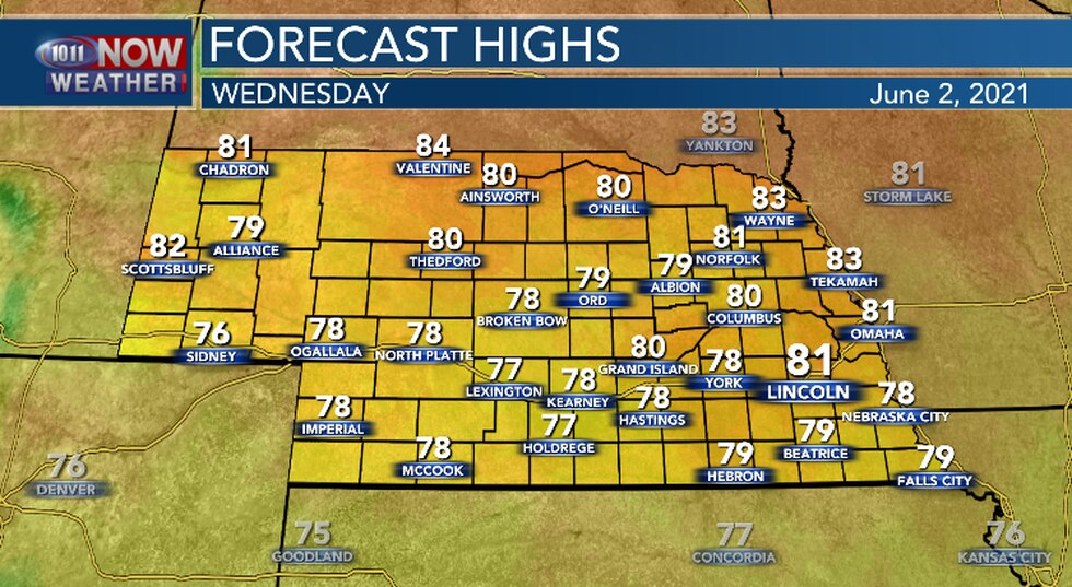 High temperatures this afternoon should be at least a few degrees warmer than yesterday.