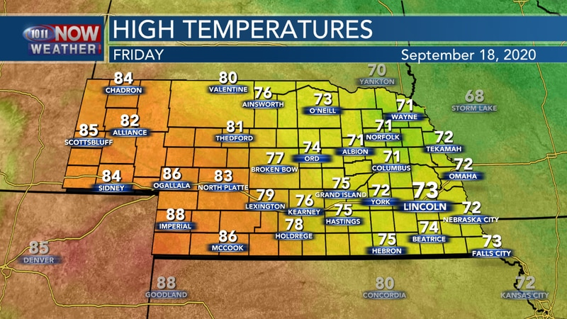 Mostly sunny and cool weather continues on Friday with highs in the 70s and 80s across the state.